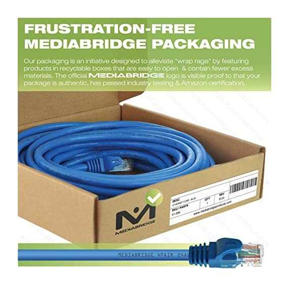 HOP Link Mediabridge Cat5e Ethernet Patch Cable - Rj45 Computer Networking Cord 3 AVAILABLE COLORS: A variety of Cat5e cable lengths in the following colors - Grey (Amazon Part# B00WEXHL6C), White (B00WEXK54W), Blue (B00WEXHQKI), Red (B00212NO6W), Black (B00WEXKGH8) Connects a computer to a printer, router, switch box or other network component in a wired Local Area Network (LAN). Share server files, use a network printer, stream audio or videos, link computers through a network switch and more, at data transmission speeds of up to 1000 Mbps (1 Gbps). Ideal for wired home or office use, this 24 AWG cable meets stricter TIA/EIA standards than conventional Category 5 cables, and can even handle bandwidth-intensive requirements. 50-micron male RJ45 connectors on each end, which are durably built with corrosion-resistant gold-plating, for high-quality data transfer accuracy. Category 5 is a computer networking standard, making it compatible with most network components.