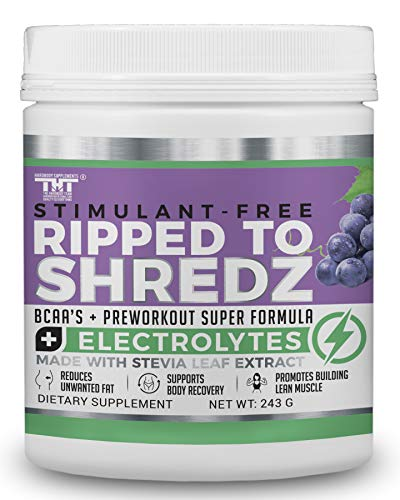 Ripped to Shredz Preworkout Drink for Hardcore Improvement & Performance.Boosts Energy,Motivation,Builds Muscle, Promotes Muscle Recovery,for Men and Women (30 Serving, Grape)