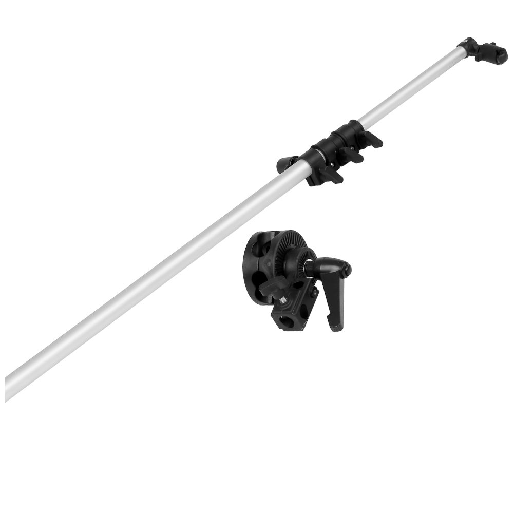 Neewer 30''-70''/77-180cm Studio Photo Swivel Head Reflector Arm Support Silver, Holding Cross Arm Boom Stand Photo Graphic Equipment(Reflector and Light Stand are Not Included)