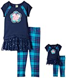 Dollie & Me Little Girls' Knit Drop Waist Dress with Flower and Knit Plaid Legging, Navy/Multi, 6