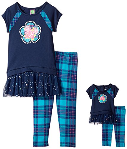 Dollie & Me Little Girls' Knit Drop Waist Dress with Flower and Knit Plaid Legging, Navy/Multi, 6 by Dollie & Me