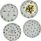 Succulents Set of 4 Lunch / Dinner Plates (Glass) (Personalized)
