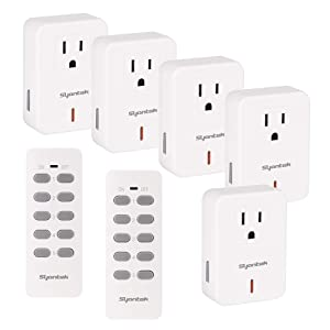 Wireless Remote Control Outlet,Syantek Electrical Socket Switch for Household Appliances,Expandable Remote Light Switch Kit,100 Foot Range,5Outlets and 2 Remotes,FCC ETL Listed,White