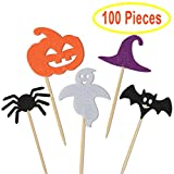 Kuuqa 100 Pcs Halloween Party Cupcake Toppers Picks Decorations Halloween Mini Pumpkin Spider Ghost Hat Bats for Cupcake Dish Decoration