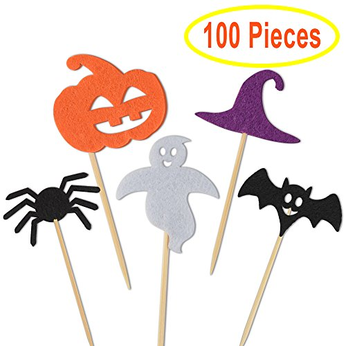 Kuuqa 100 Pcs Halloween Party Cupcake Toppers Picks Decorations Halloween Mini Pumpkin Spider Ghost Hat Bats for Cupcake Dish (Funny Halloween Party Names)