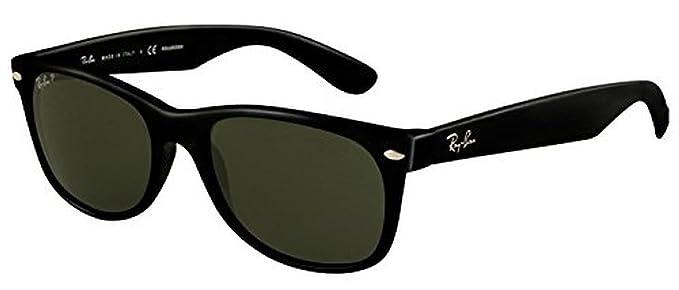c53ab79172 Ray-Ban New Wayfarer RB 2132 Sunglasses Black Crystal Green Polarized 55mm    HDO