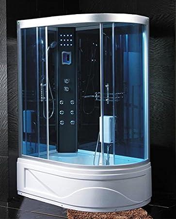 cabina con vasca idromassaggio 115x90 con bagno turco sauna e radio