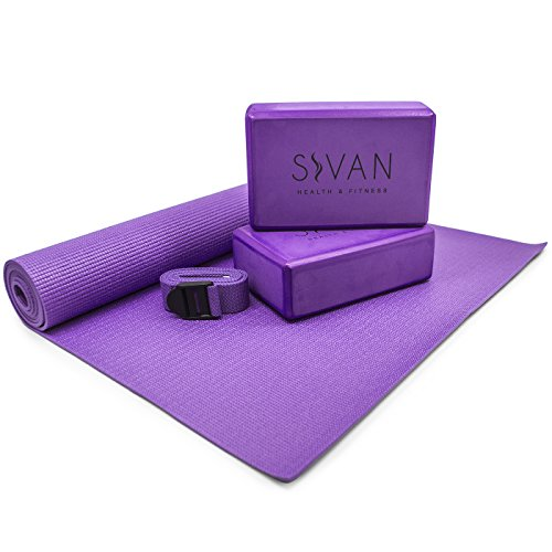 Beginner Set (Sivan Health & Fitness 5-Piece Essentials Yoga Beginners Kit, Purple)