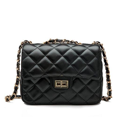 Quilted Small Handbag - Kipten Ladies' Shoulder Bag Quilted Chain Fashion Leather Handbag-Black