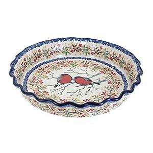 Blue Rose Polish Pottery Meadowlark Pie Plate