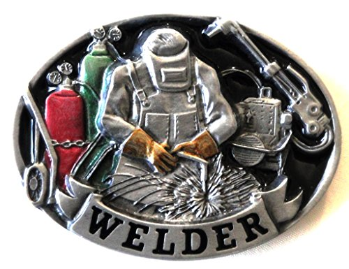 WELDER PEWTER BELT BUCKLE - COLOR ENAMEL - MADE IN USA BY C&J ()