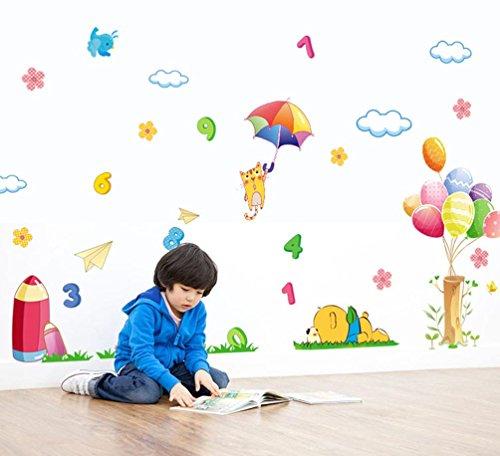 bibitime-0-9-math-figure-wall-art-umbrella-cat-stump-colorful-balloon-grass-bear-pencil-bird-butterf