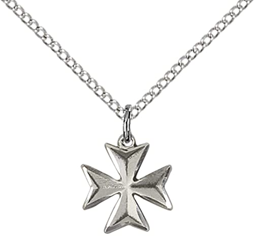 Sterling silver maltese cross pendant with 18 stainless steel lite sterling silver maltese cross pendant with 18quot stainless steel lite curb aloadofball Images