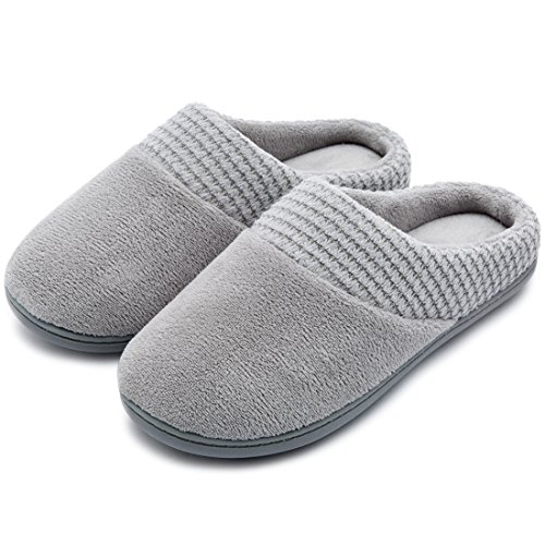 ULTRAIDEAS Women's Comfort Terry Plush Memory Foam Slippers Slip-Resistant Indoor & Outdoor House Shoes w/Classic Fabric Knit Collar (Medium/7-8 B(M) US, Gray) (Slip Comfort Simple)