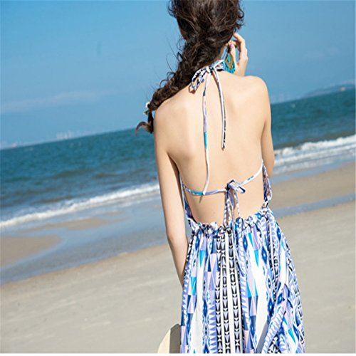 Dress Long V Print Fashion Lace Women's Sleeveless Backless up Carejoy Floral Neck qRvPOn