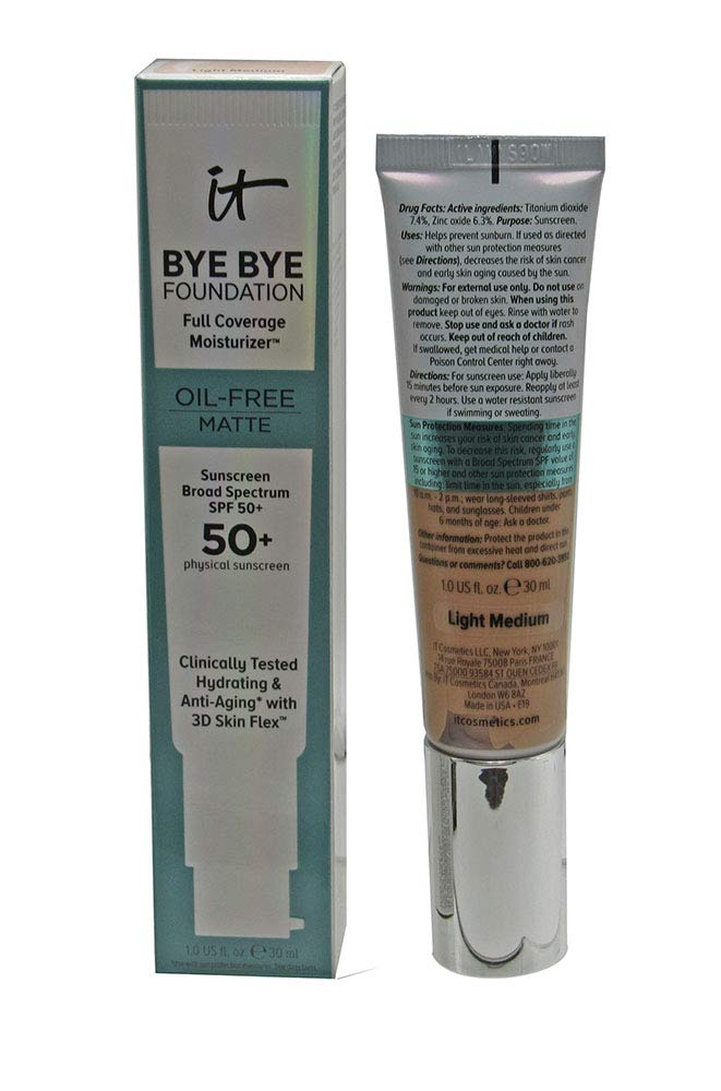 it Bye Bye Foundation Moisturizer Oil-Free Matte SPF 50+ 1 fl. oz. (Light Medium)