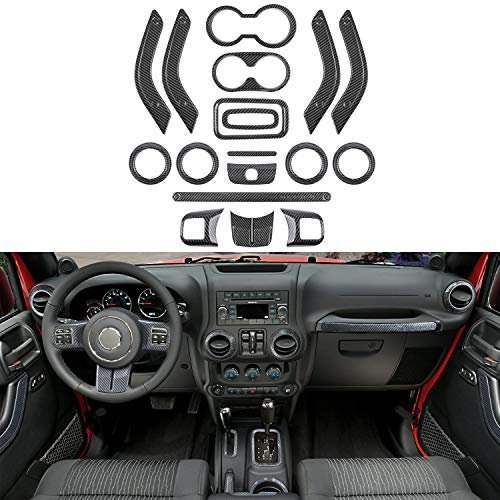 - 18 PCS Full Set Interior Decoration Trim Kit - Door Handle&Cup Cover, Steering Wheel & Center Console Trim, Gear Shift Knobs Frame & Air Outlet Cover for Jeep Wrangler JK JKU 2011-2018 2-door&4-door