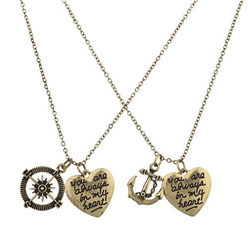 Lux Accessories Burnish Gold Nautical You R Always in my Heart Charm Necklace