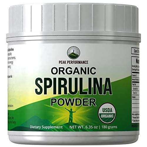 Organic Spirulina Powder by Peak Performance. Ecologically Grown Organic Vegan Algae Superfood. Non GMO, Lab Tested, Non Irradiated, Made in USA. Natural Chlorophyll. Powdered Supplement Espirulina