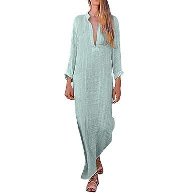 6c7515897a1c Amazon.com  OCEAN-STORE Women Boho Baggy Loose Long Sleeve V-Neck Skirts  for Women Elegant Linen Kaftan Maxi Dress Beach Dresses  Clothing