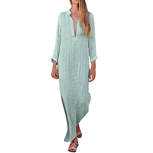 08b3f2a10 Amazon.com: vermers Women Casual Baggy Boho Dresses - Women Loose Long  Sleeve V-Neck Linen Kaftan Maxi Dress Beach Dresses: Clothing