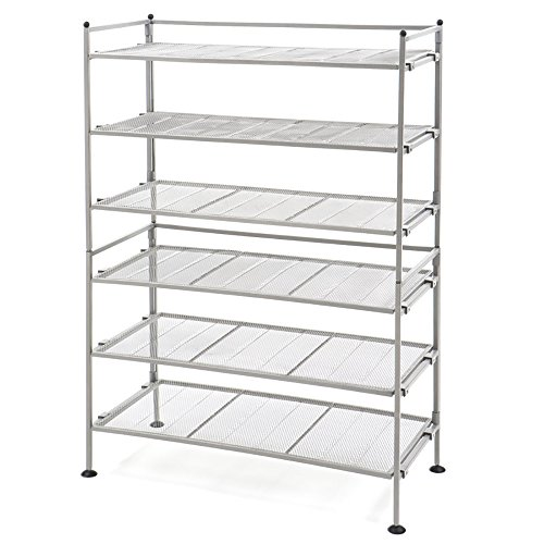 Seville Classics 3-Tier Iron Mesh Utility Shoe Rack (2-Pack), Satin - Tier Classic Three
