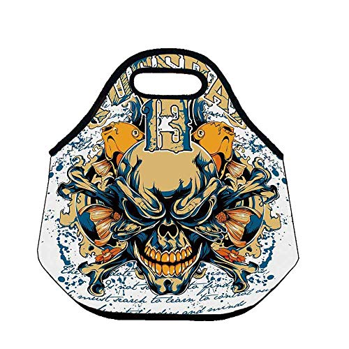- Skull Custom Neoprene Lunch Bag,Scary Skeleton Head Fishes Tuesday Thirteen Unlucky Day Color Splashes Decorative for Lunch Trip Travel Work,Throw(11.8''L x 6.3''W x 11''H)