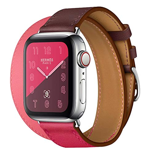 Genuine Leather Double Tour iwatch Strap Replacement Band with Stainless Steel Adpter Clasp for Apple Watch Series 4/3/2/1 Men Women (Bordeaux/Rose Extrême/Rose Azalée, 44MM for Series - Steel Tour Extreme
