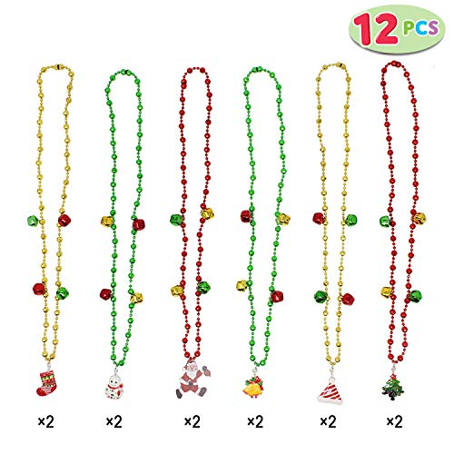 Set of 12 Christmas Jingle Bells Necklaces for Christmas and Holiday Party Favors with 6 Designs -
