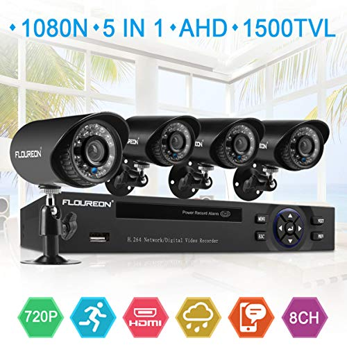 FLOUREON 8CH House Camera System DVR 1080N + 4 Outdoor/Indoor Bullet Home Security Cameras 1500TVL HD Resultion Night Version for House/Apartment/Office (8CH+1500TVL)