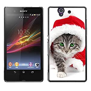 Hot Style Cell Phone PC Hard Case Cover // M00100657 christmas claus animals santa cat // Sony Xperia Z L36H