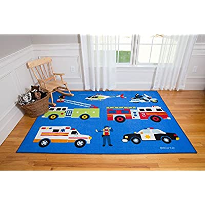 Wildkin Kids 39x58 Inch Rug for Boys and Girls, Made From Durable Nylon Material, Features Skid-Proof Backing and Serged Borders, Olive Kids, (Heroes): Kitchen & Dining