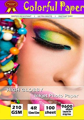 Colorful High Glossy Inkjet Paper 210gsm 20 sheet 4R Size  4 quot;X6 quot;  100% Satisfaction Guaranteed Photo Paper