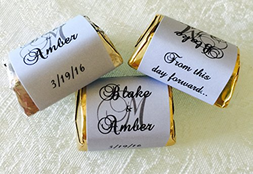 - 300 PASTEL BLUE Personalized MONOGRAM WEDDING CANDY WRAPPERS/Stickers/Labels (Make your own event or party favors using your HERSHEY NUGGET CHOCOLATES)