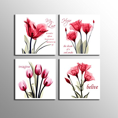 Vibrant Canvas Wall Art 4 Panel Red Color Tulip with Quotes