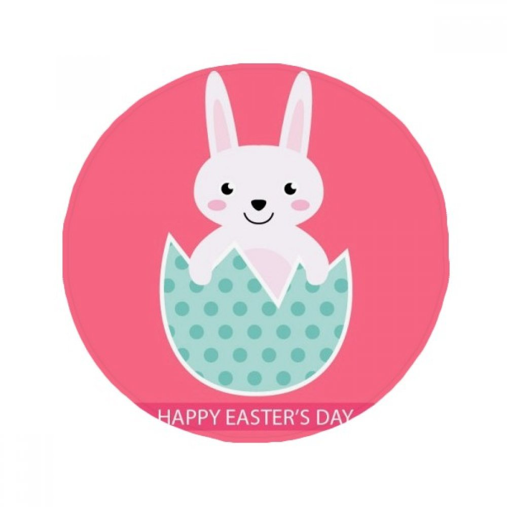 60X60cm DIYthinker Happy Easter'S Day Egg Bunny Illustration Anti-Slip Floor Pet Mat Round Bathroom Living Room Kitchen Door 60 50Cm Gift