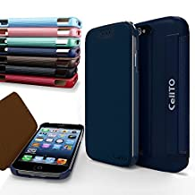 iPhone 4S Case, Cellto MOZ Sophisticated Case [Ultra Slim] Flip Cover for Apple iPhone 4S or iPhone 4 - Navy Blue