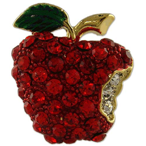 Gold Plated Crystal RED Apple Fruit Teacher Brooch PIN Made with Swarovski Elements