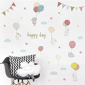Pegatina pared vinilo decorativo conejitos y globos para ...
