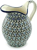 Polish Pottery 63 oz Pitcher (Black And Blue Lace Theme) + Certificate of Authenticity