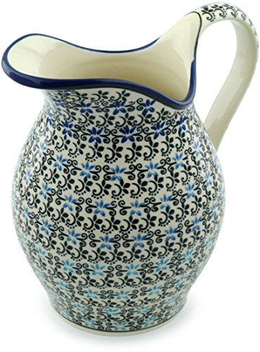 Polish Pottery 63 oz Pitcher (Black And Blue Lace Theme) + Certificate of Authenticity (Lace Pitcher)