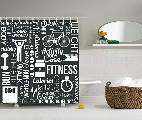 Fitness Love Healthy Life Aerobic Exercise Art Prints Black and White Fabric Shower Curtain