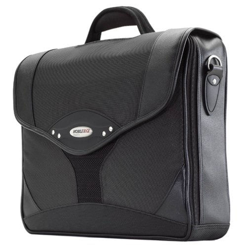 Mobile Edge Select Leather - Mobile Edge Black Select Laptop Briefcase 15.6 Inch PC, 17 Inch Mac, SafetyCell Computer Protection Compartment, Gel-eGrip Comfort Handle, for Men, Women, Business, Students MEBCS1
