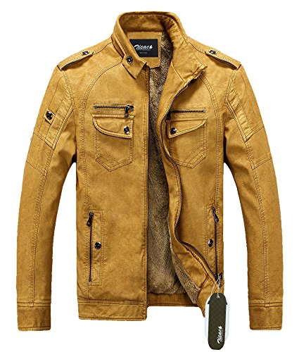 Zicac Mens Top Design Washable Leather Coat Super Warm Linning Fleece Jacket (S/Asia Tag L, Yellow)