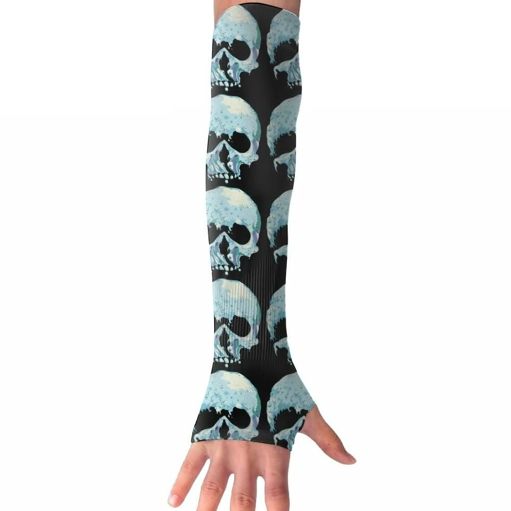 Unisex Wave Skulls Sunscreen Outdoor Travel Arm Warmer Long Sleeves Glove