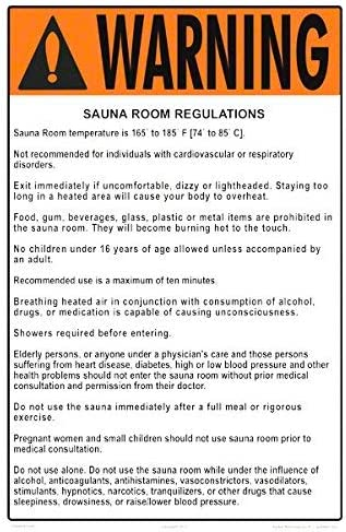 Sauna Uv Warning Sauna//steam Room Regulations Sign Sauna Room Measuring 12 X 16 Inches On White Styrene Plastic Flat Technology Safety Regulation 0.040 The Pool Steamroom and Darkroom Rules