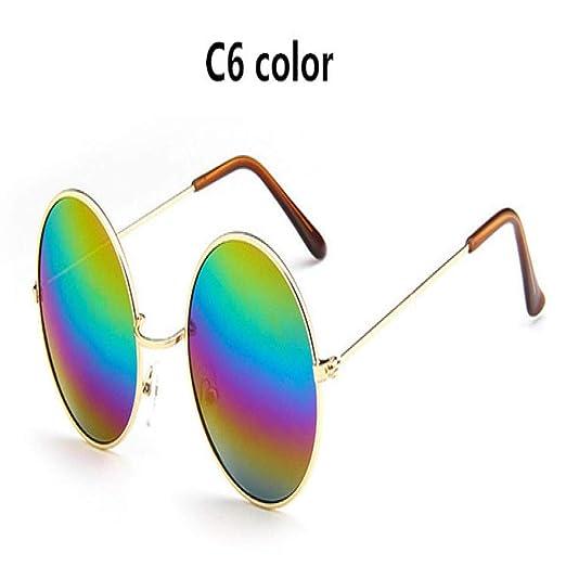 Yangjing-hl Nuevo Gafas de Sol Redondas Retro de Gran tamaño ...