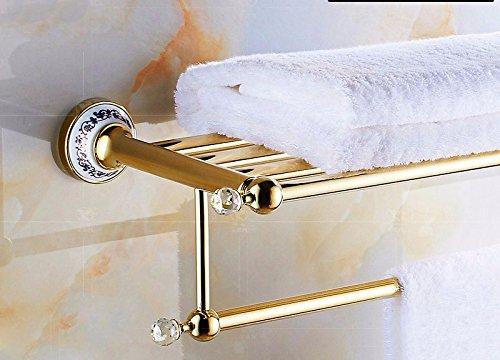 GGHYYO Towel shelf shower room kitchen Shelf Crystal Holder Ceramics Steel Pipe Gold Color