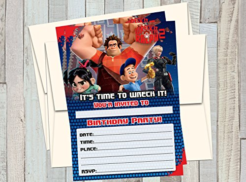 12 WRECK IT RALPH 2 - Birthday Invitations (12 5x7in Cards, 12 matching white -