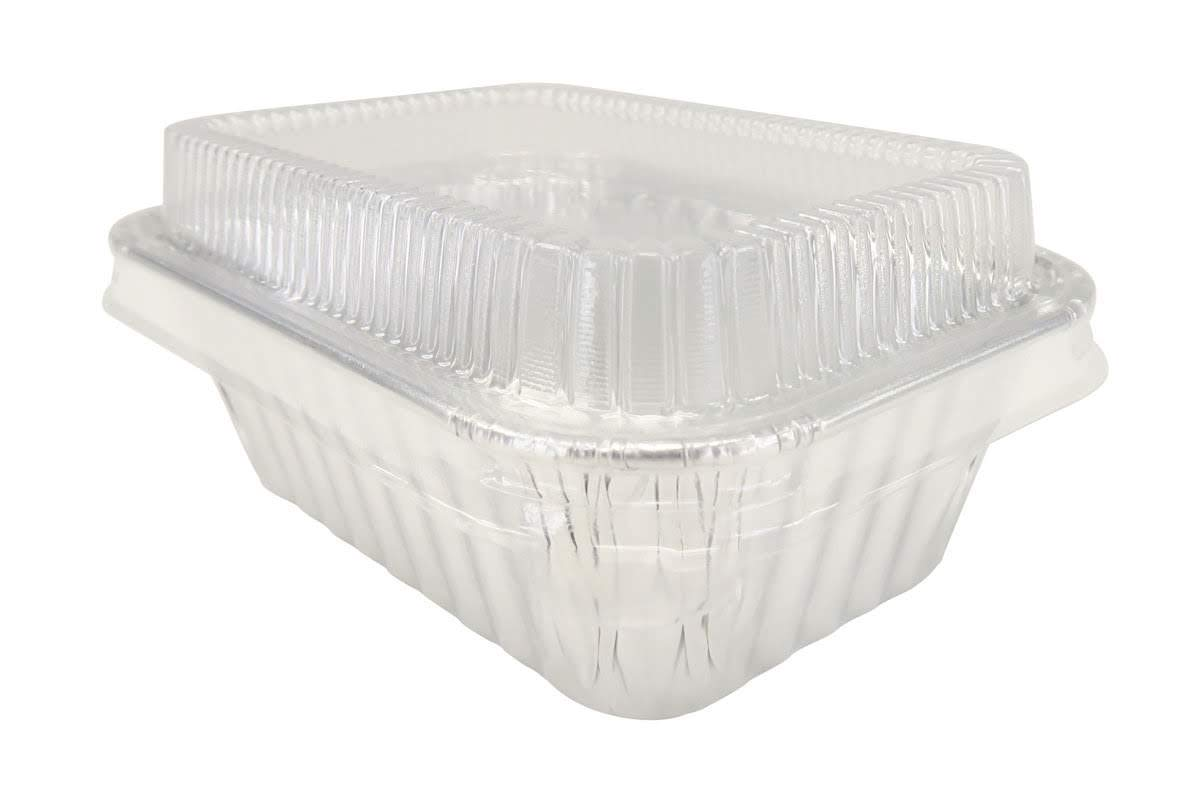 KitchenDance Disposable Aluminum Mini 6 Ounce Individual Sized Loaf Pans #4004 Color & Lid Options (Silver -with Lids, 100)
